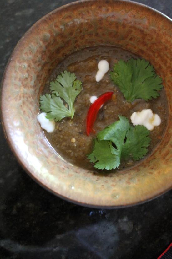 Yogurt As Garnish, Elegant Eggplant Soup