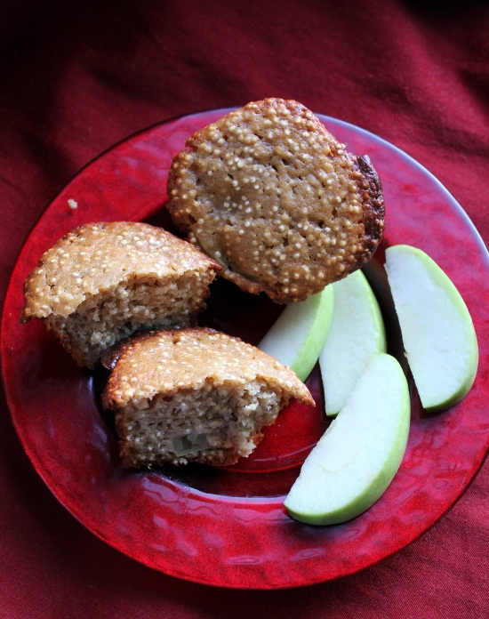 Apple Quinoa Muffins on Red Plate
