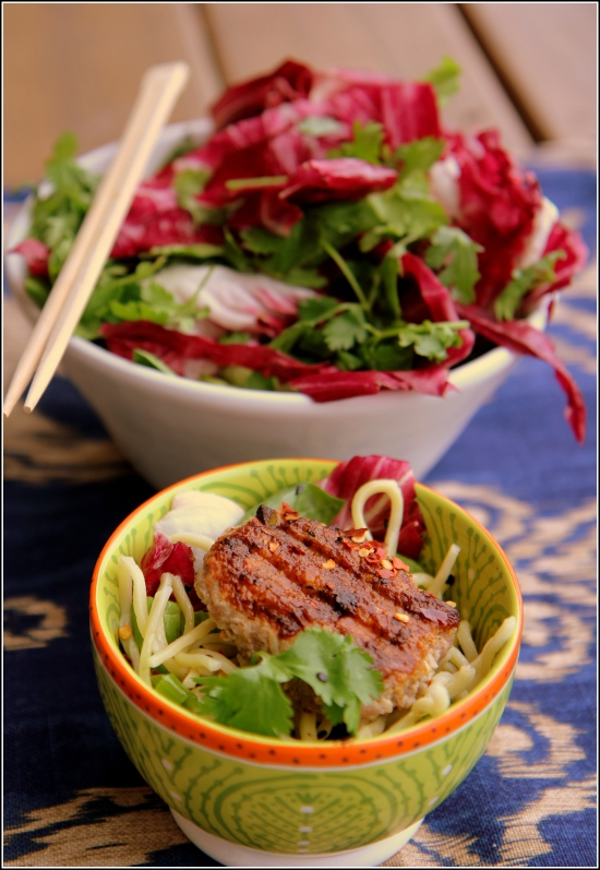 Thai Meat Pattiw with Greens and Chopsticks
