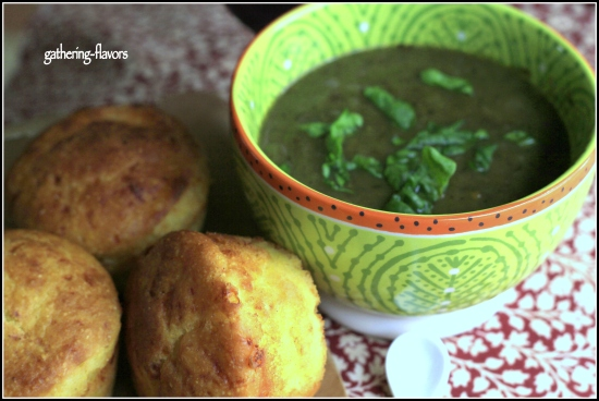 Spinach Soup and Parmesan Cheese Muffins