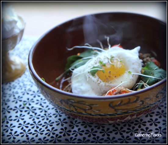 Baked Eggs with Lamb and Tahini Vignette