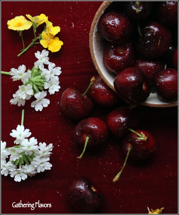 Cherries and Flowers by Dena T Bray