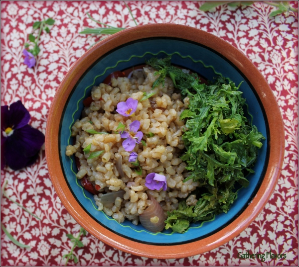 Pilaf and Greens in Small Bowl Dena T Bray