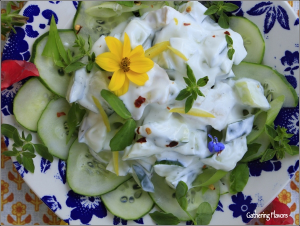 Cucumber Relish with Flowers by Dena T Bray