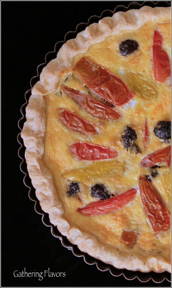 Hierloom Tomato Tart with Green Background by Dena T Bray