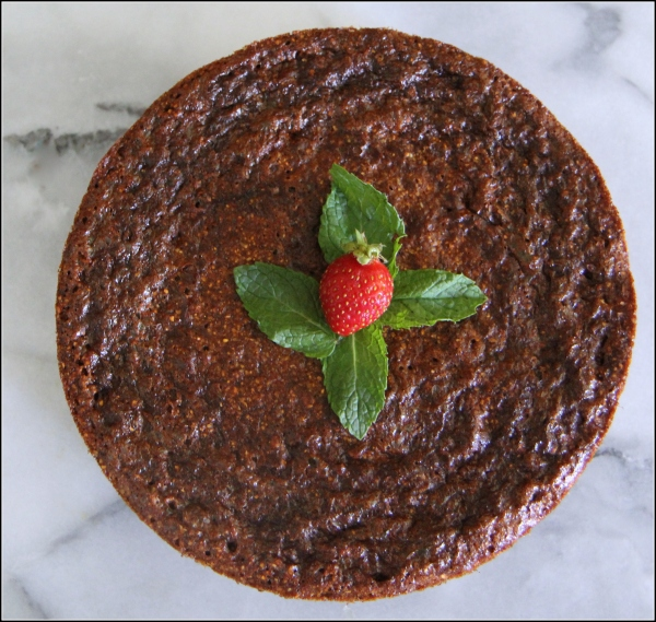 Polenta Cake Overhead with Berry and Mint by Dena Testa Bray