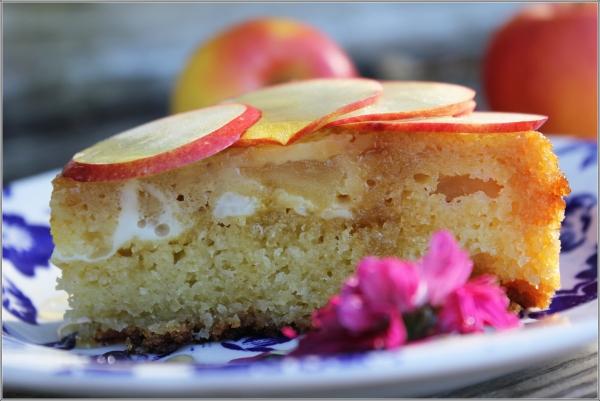 Golden Apple Cake Slice with Flower by Dena T Bray