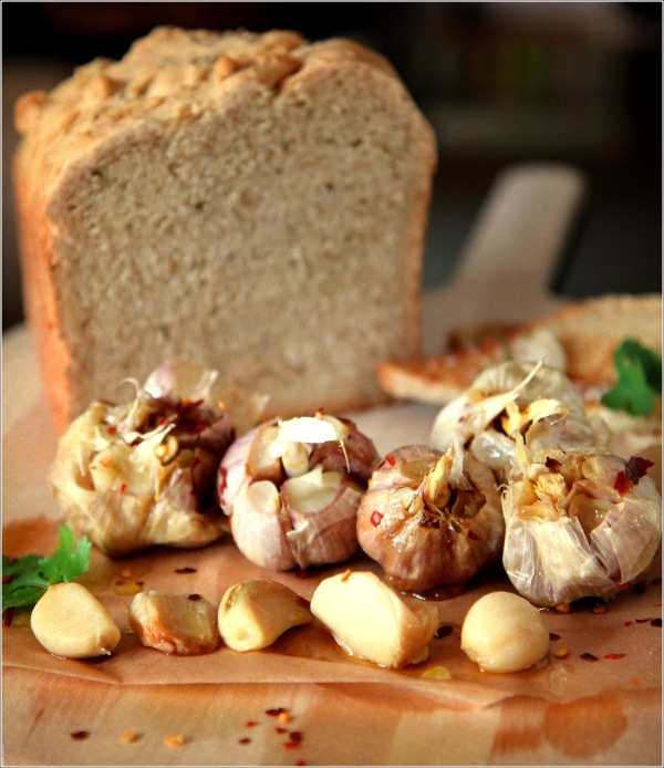 Vintage Roasted Garlic with Loaf of Bread by Dena T Bray