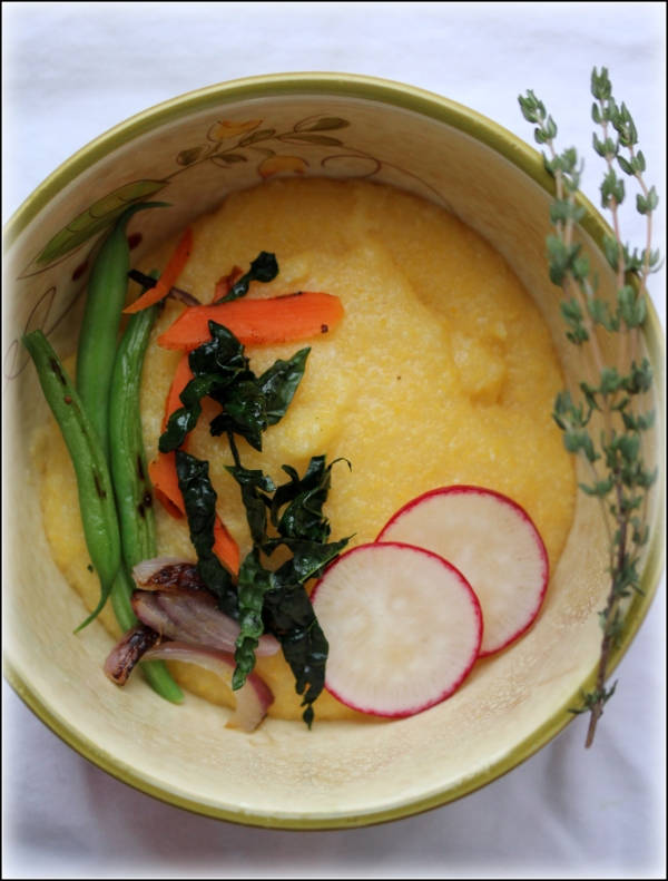 Creamy Polent and Veggies in Bowl with White by Dena T Bray©