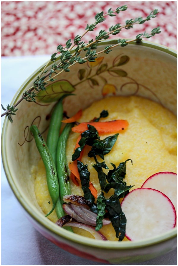 Creamy Polenta in Bowl with Thyme by Dena T Bray©