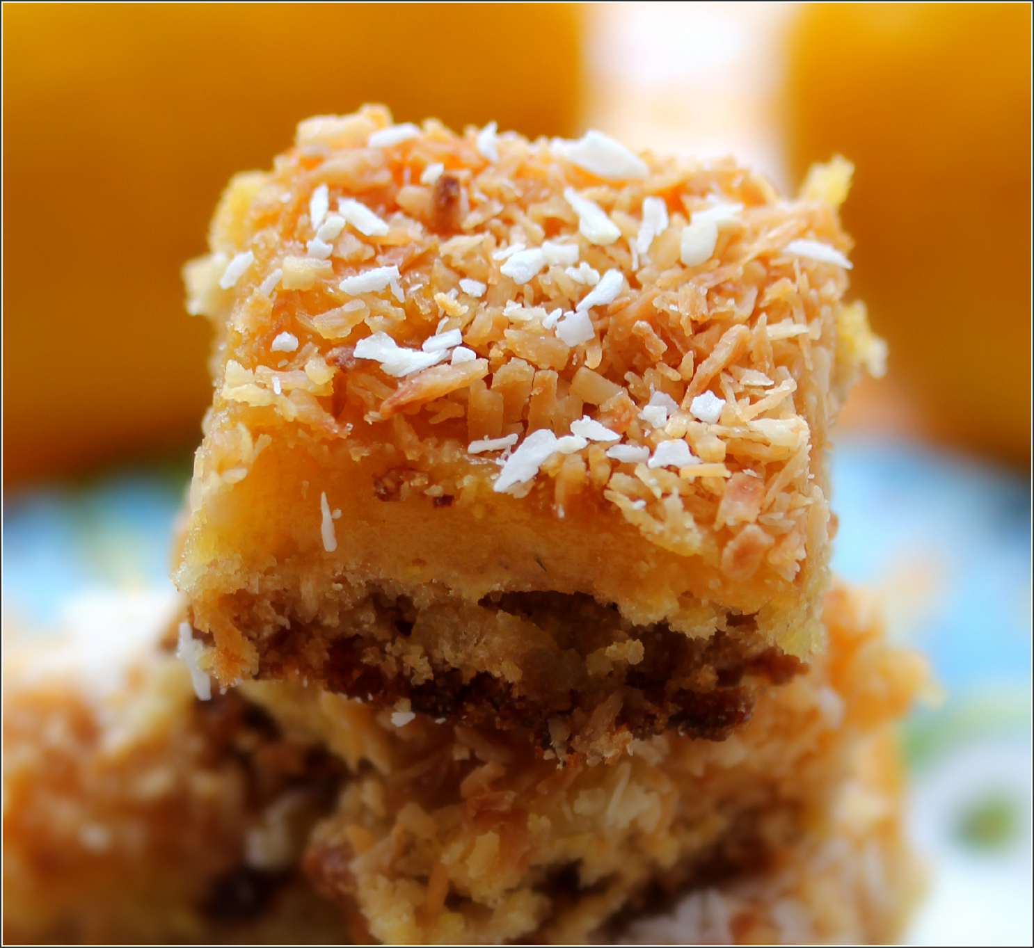 Stack of Oatmeanl, Coconut and Lemon Bars Upclose by Dena TBray©.jpg