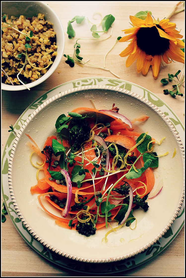 Tranquil Carrot Salad on Green Plate by Dena T Bray
