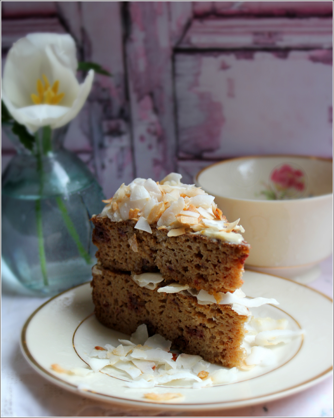 Carrot Cake With Tulip by Dena T Bray