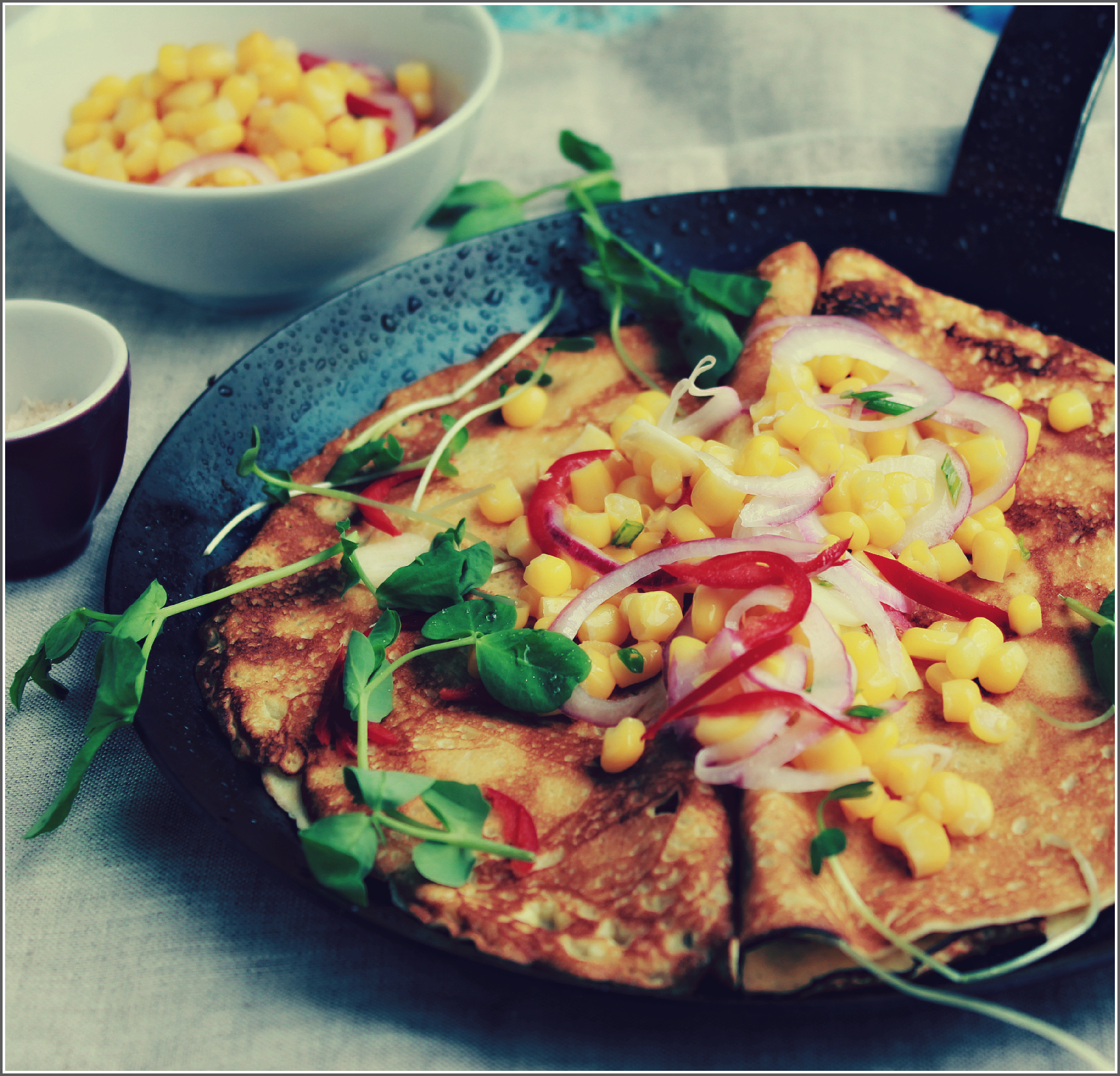 Crepes with Corn Salsa and Linen by Dena T. Bray©
