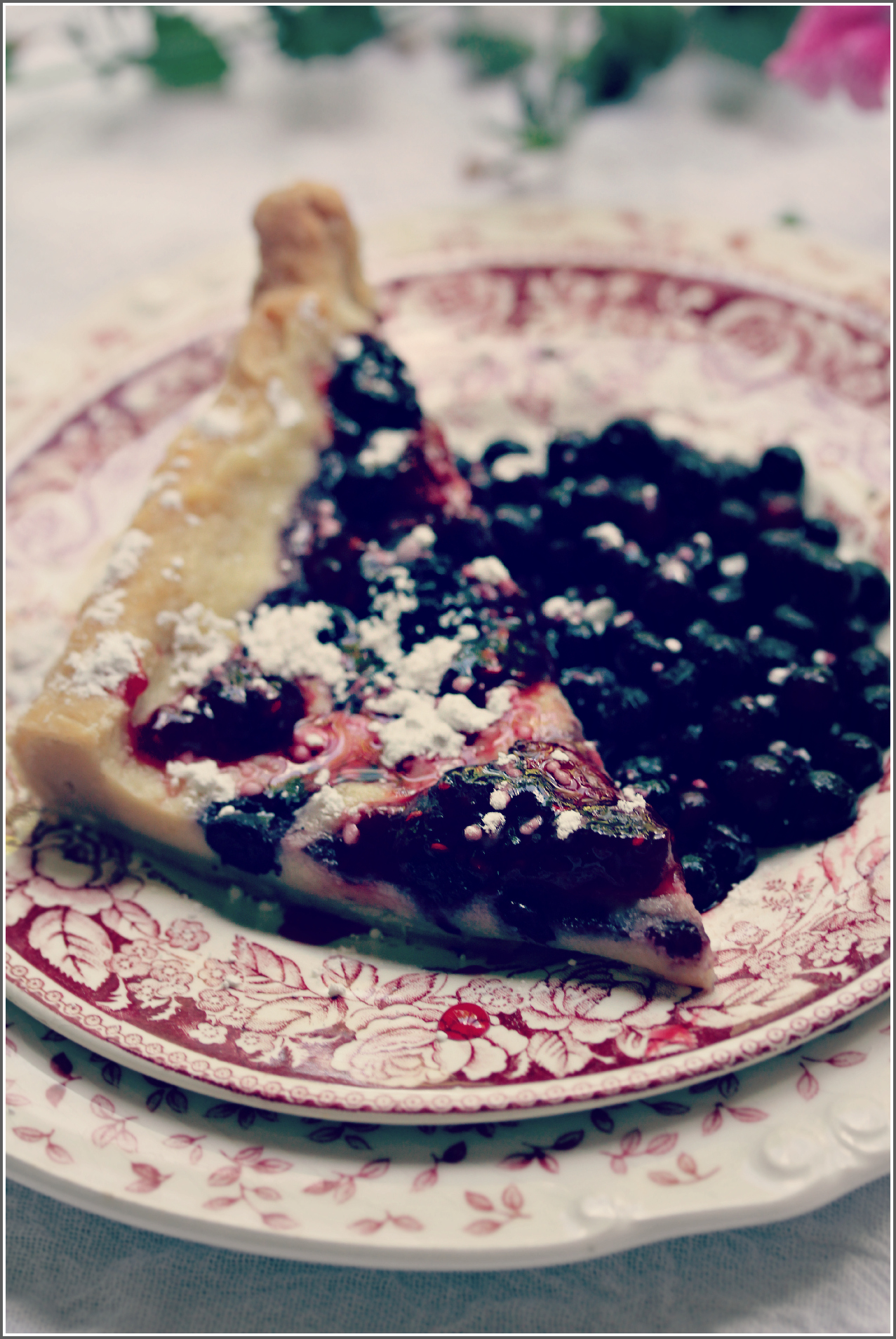 Slice of Semolina and Mixed Berry Tart with Fruit on Side by Dena T Bray©
