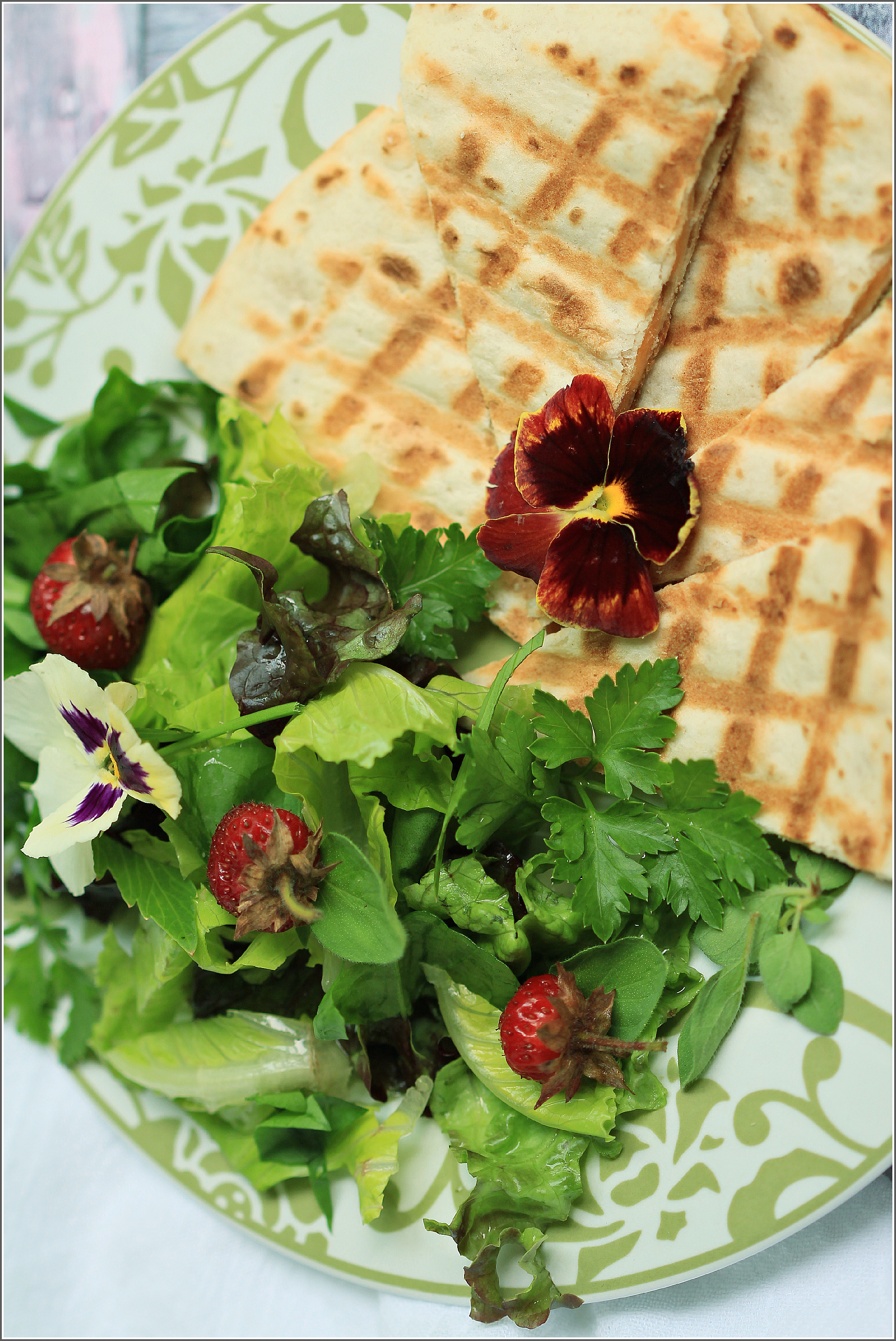 Cheese Quesadillas with Mixed Greens, Herbs and Strawberry Salad from Gathering Flavors
