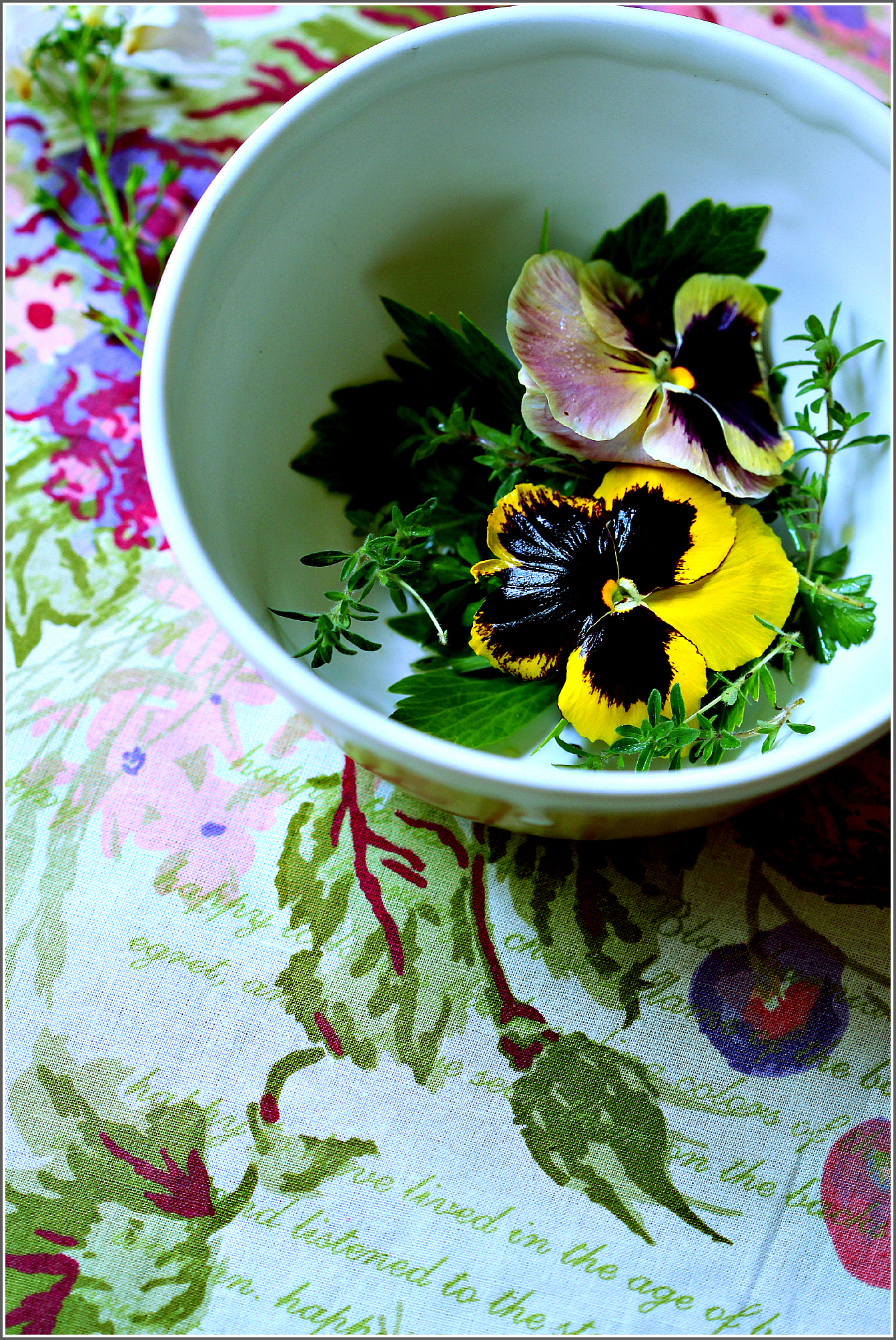 Pansies and Herbs in White Bowl by Dena T Bray.jpg