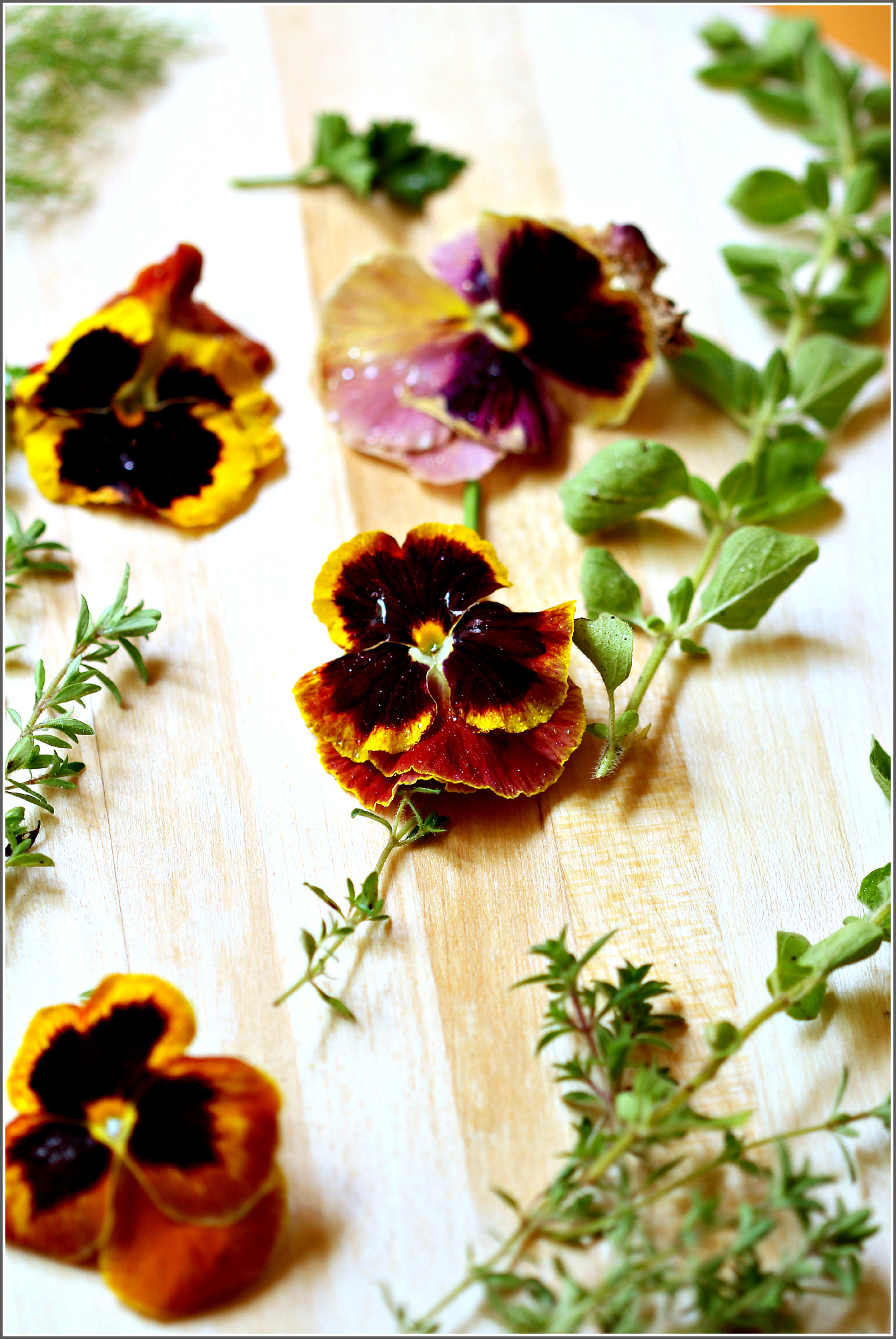 Pansies and Herbs on Cutting Board by Dena T Bray©