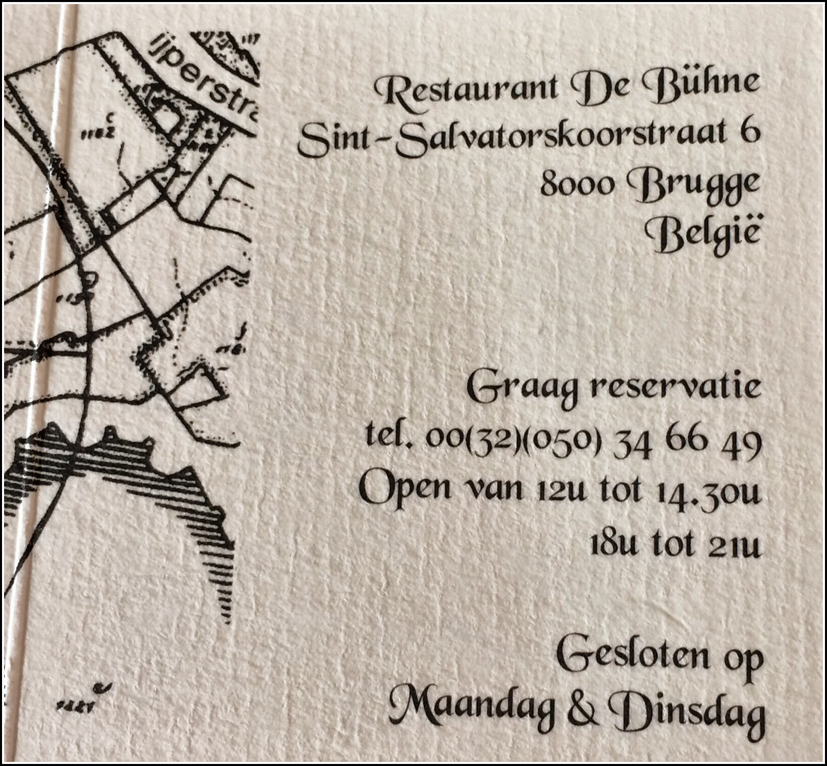 Restaurant Card Brugges©