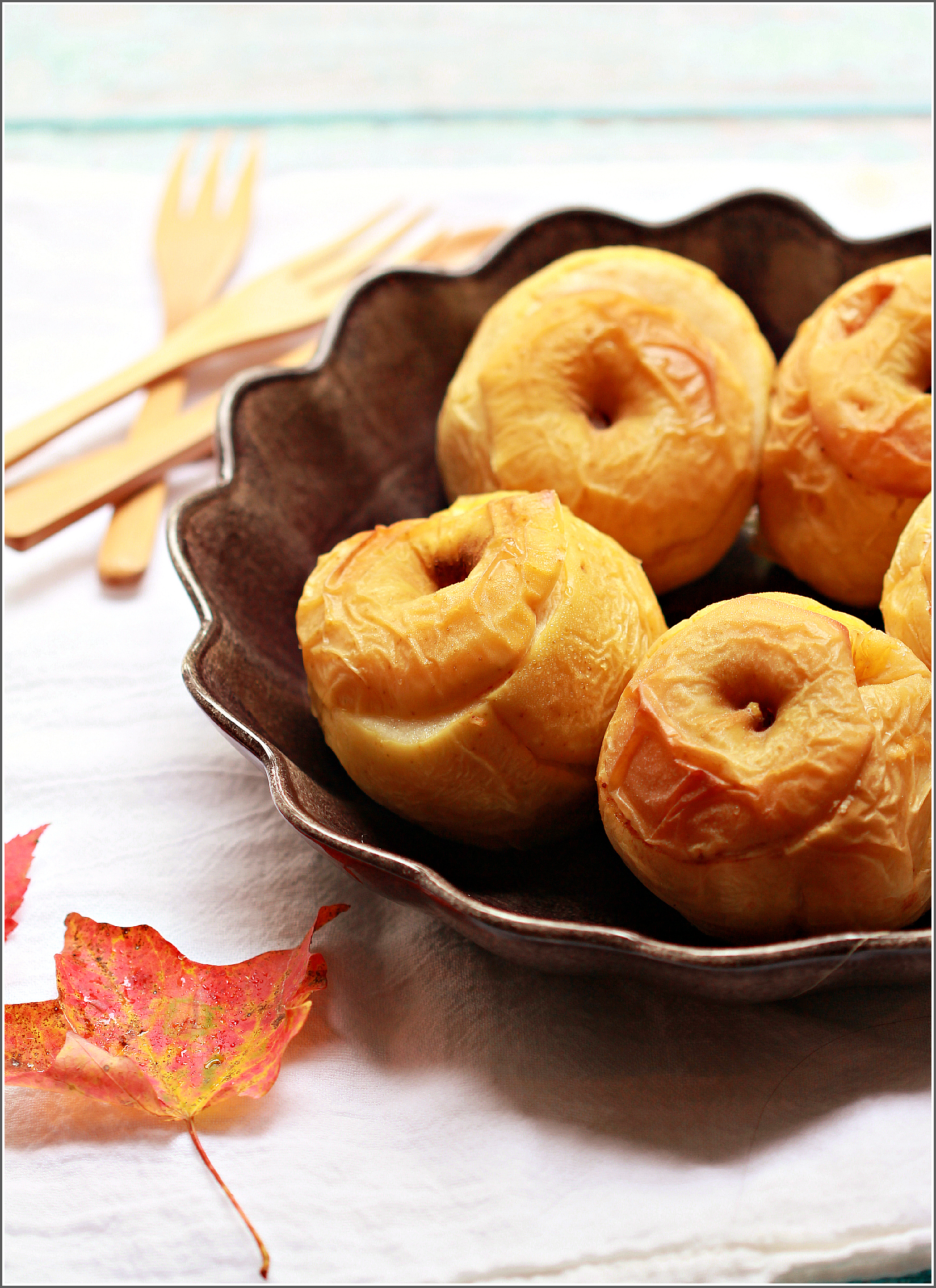 Baked Apples in with Leaf and Forks by Dena T