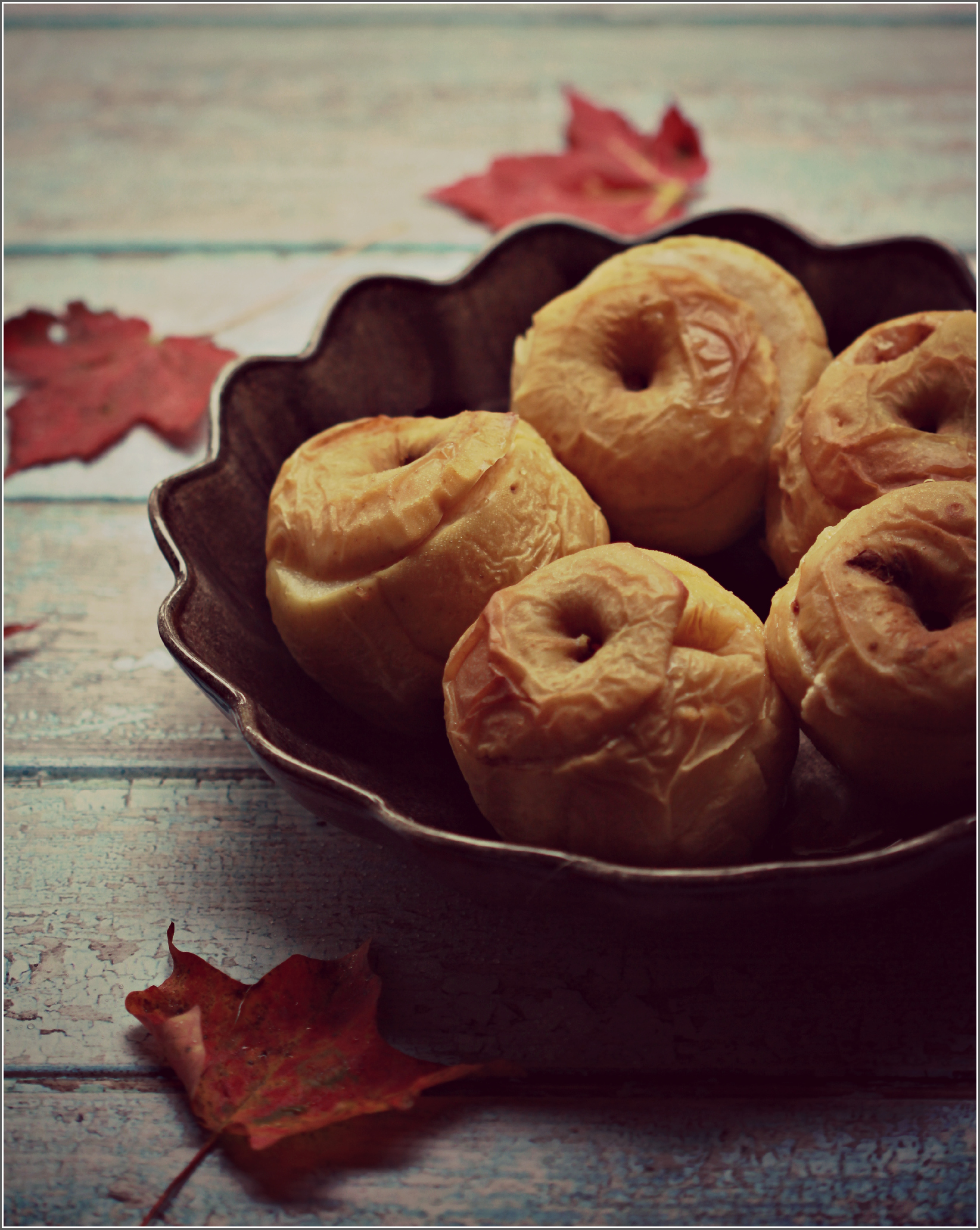 Honey and Ginger Baked Apples on Black Plate by Dena T BrayⒸ