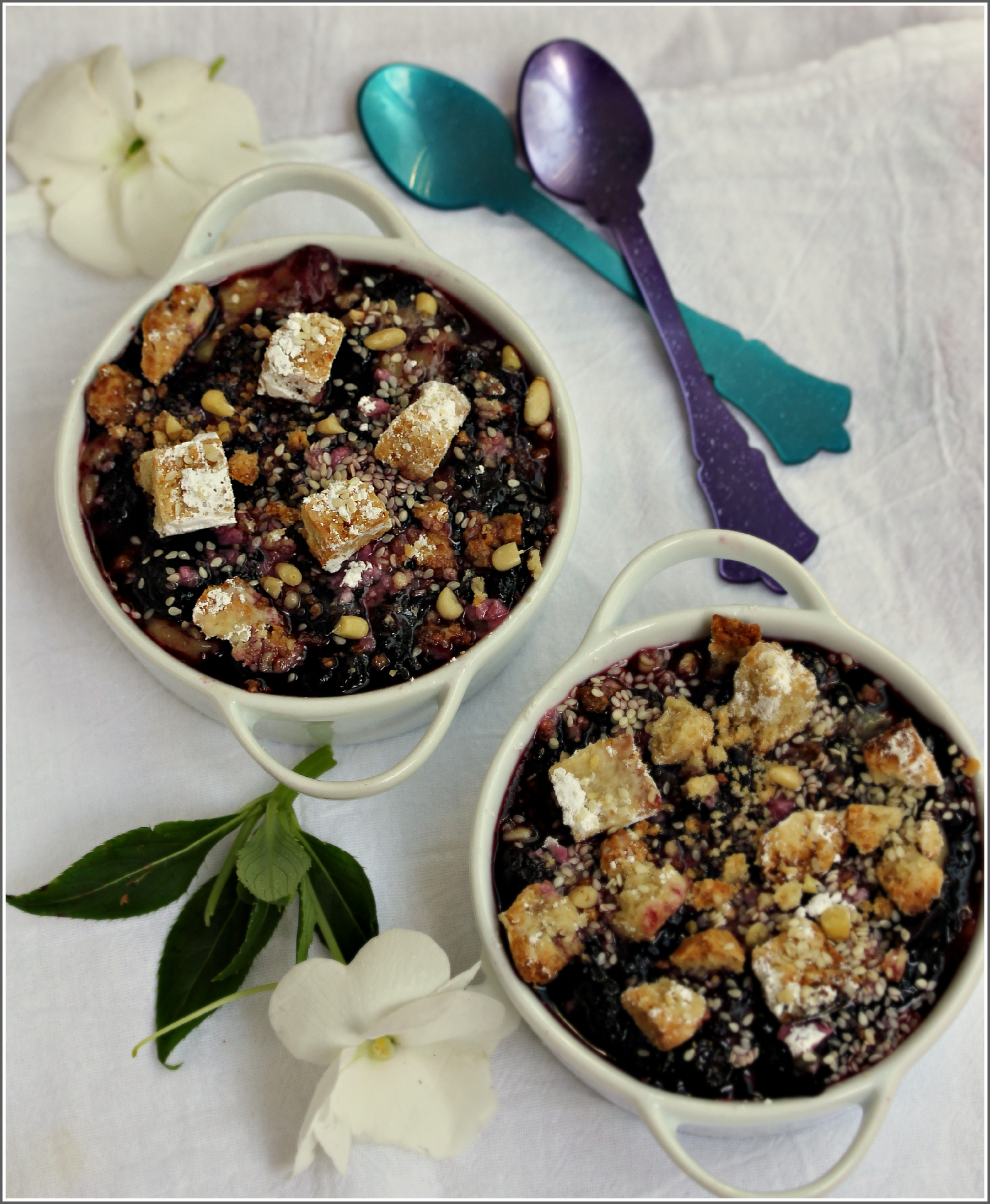 Peach and Blueberry Cobbler with Spoons by Dena T Bray©