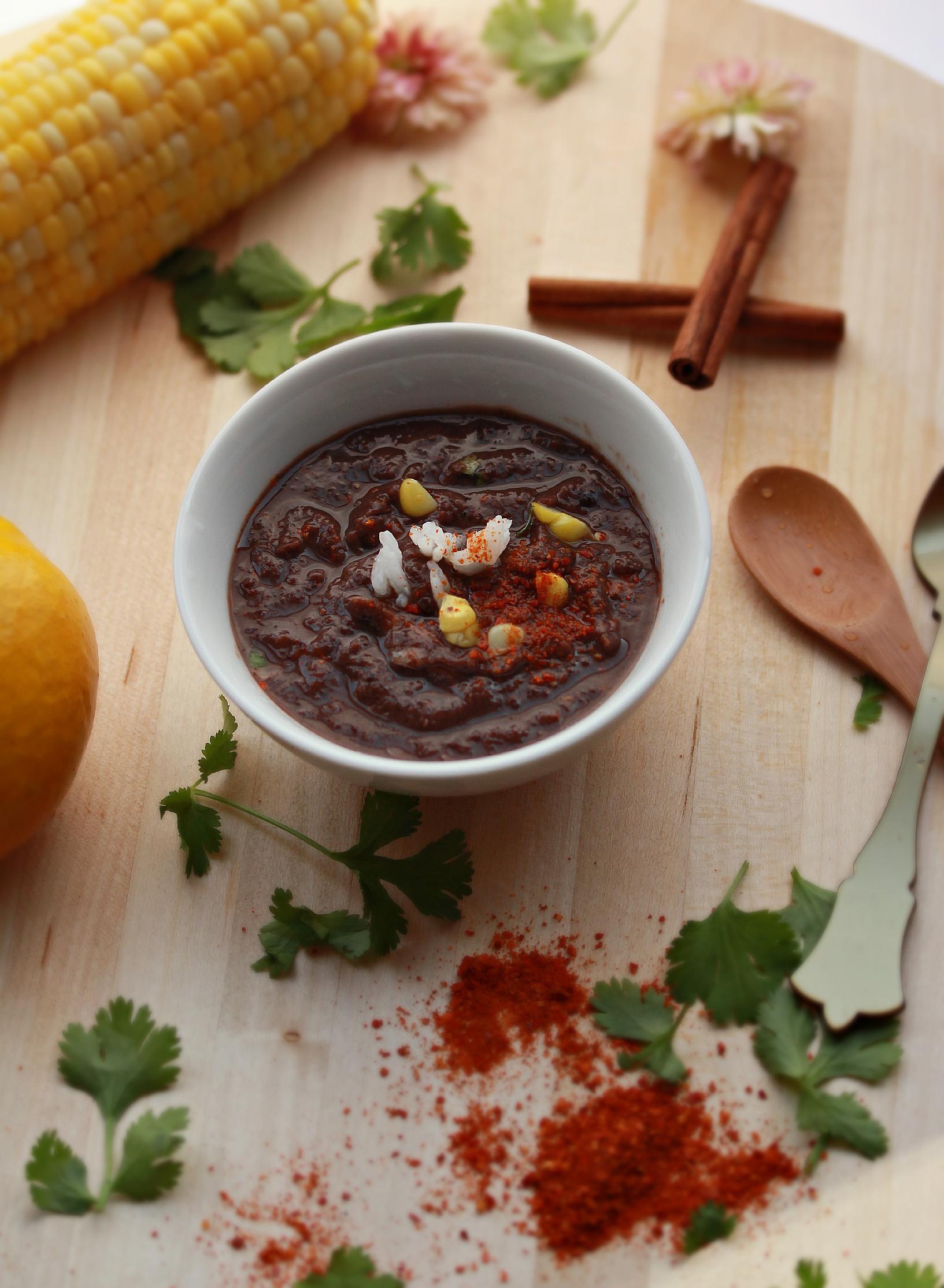 Black Bean Soup on Wooden Board by Dena T Bray©