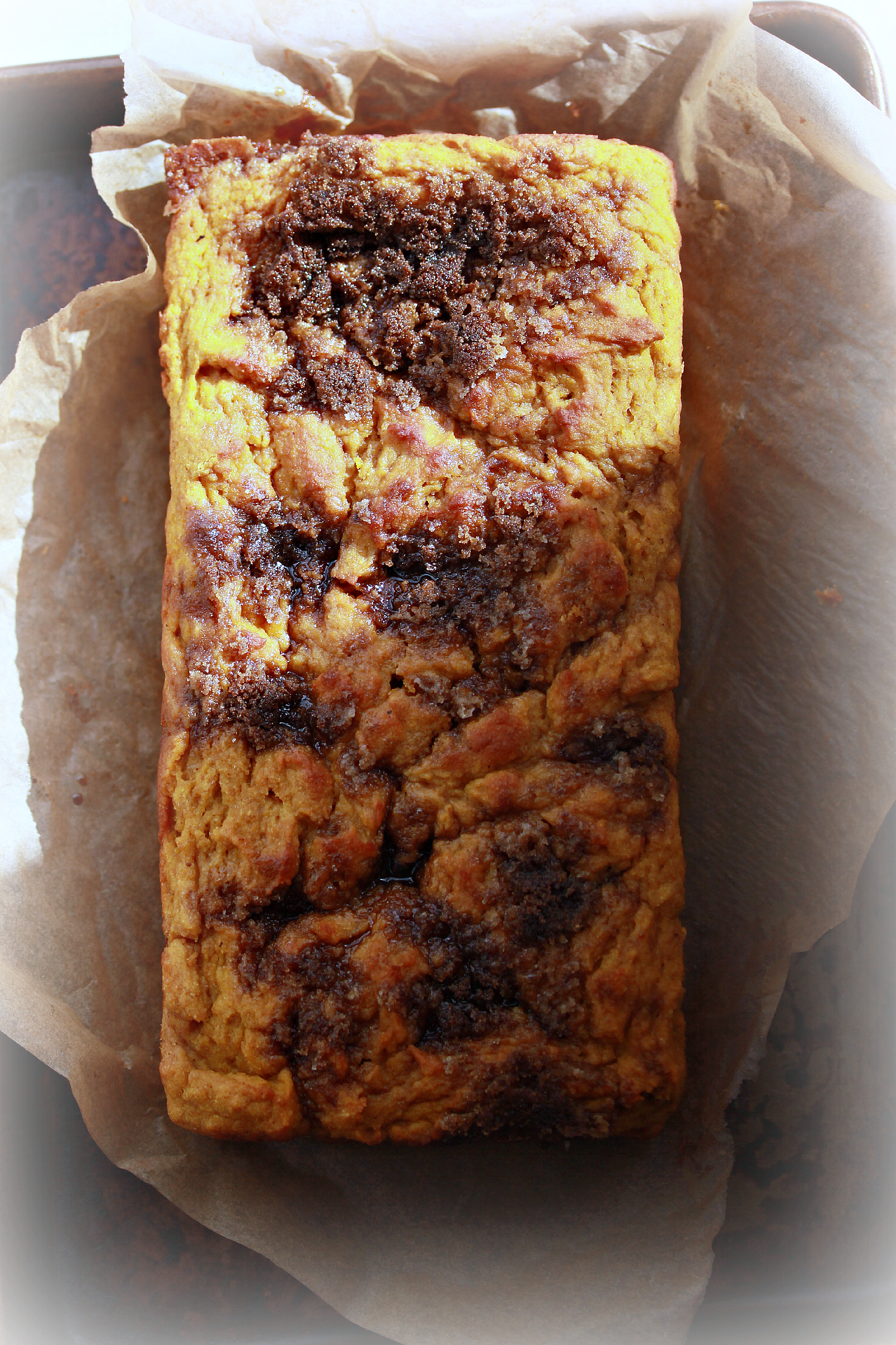 Pumpkin Bread Loaf Overhead in Sunlight by Dena T Bray ©