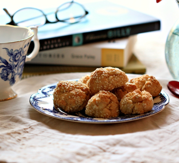 Sesame Cookies with Books and Tea Cup  Dena T Bray©