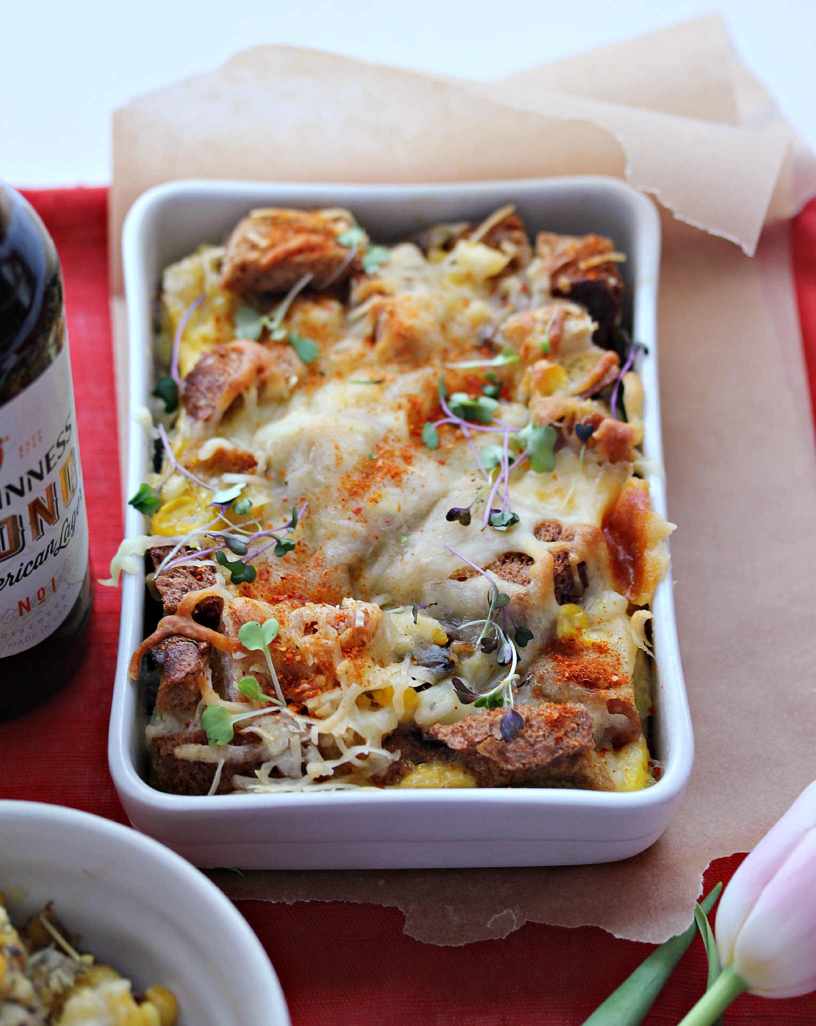 © Savory Bread Pudding in Casserole Dish by Dena T Bray