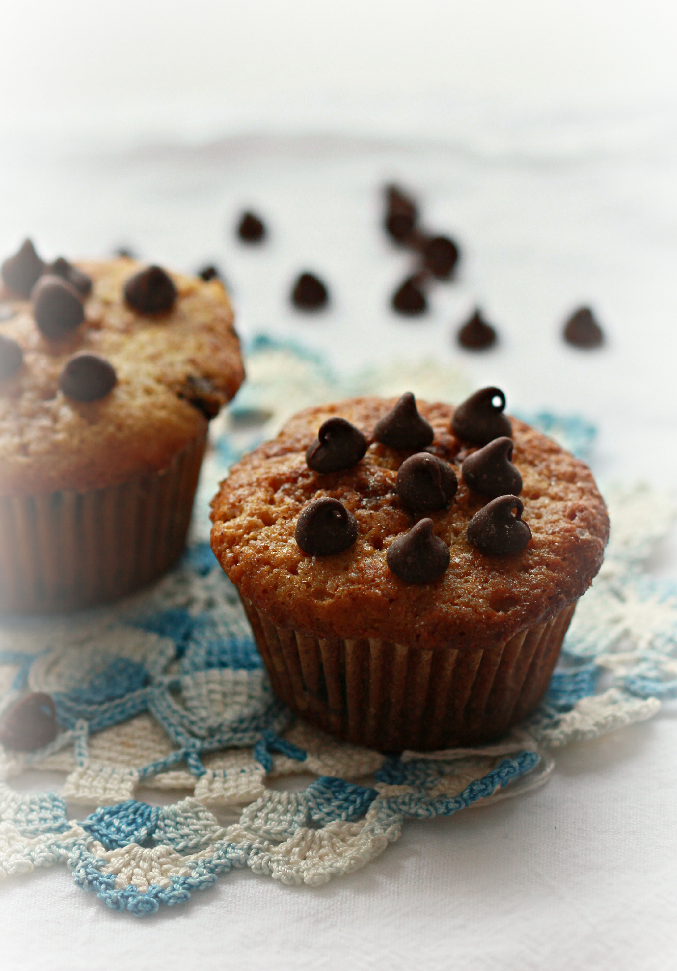 ©Dark Chocolate Chip Muffins on Lace Vignette by Dena T Bray