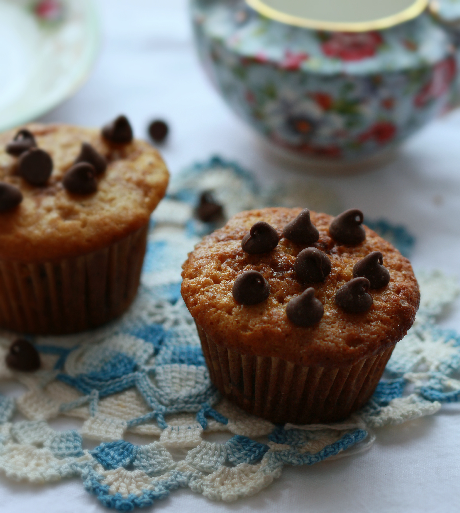 ©Dark Chocolate Chip Muffins on Lace with Teapot by Dena T Bray