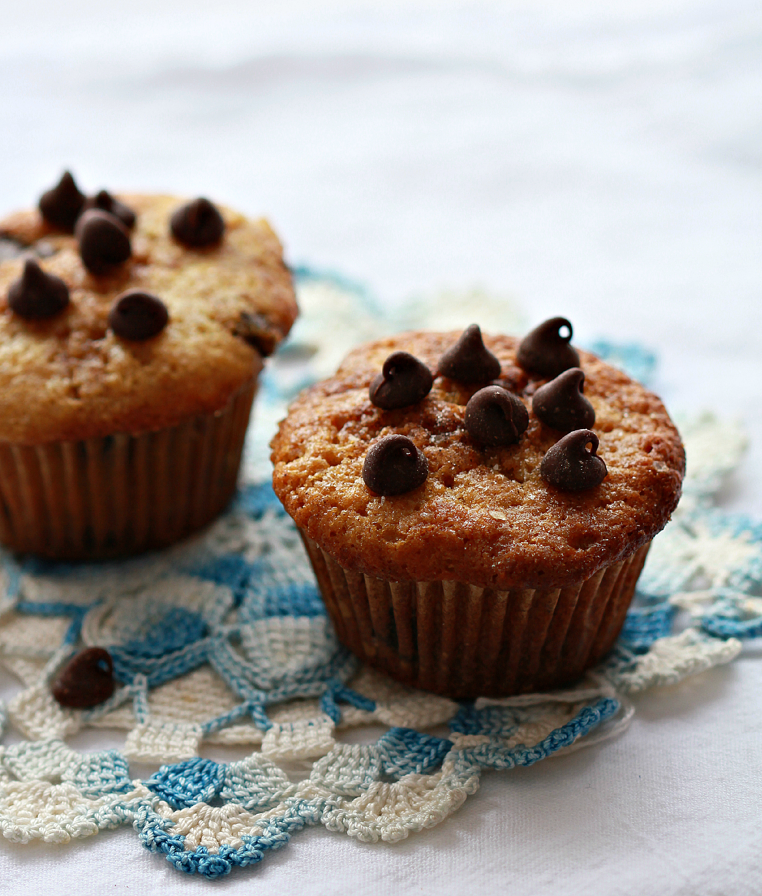 ©Two Dark Chocolate Chip Muffins on Lace by Dena TBray